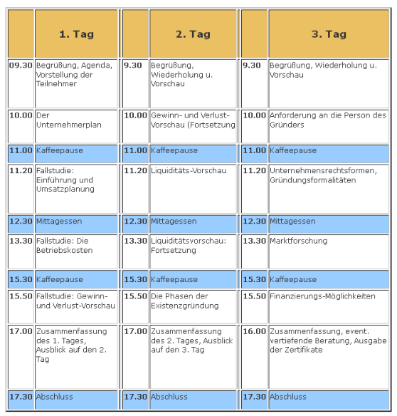 Agenda Seminar